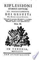 Riflessioni Storico-Critiche Sul Discacciamento Dei Gesuiti Dai Regni Delle Spagne
