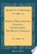 Rime di Montemagno, Staccoli, Guidiccione, De' Rossi e Tansillo (Classic Reprint)