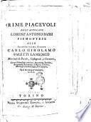 Rime piacevoli dell'avvocato Lorenz'Antonio Bassi piemontese allo illustrissimo signor Carlo Girolamo Faletti Langosco ..