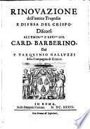 Rinouazione dell'antica tragedia e difesa del Crispo [of Bernardinus Stephonius]. Discorsi