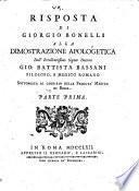Risposta alla dimostrazione apologetica del ... dottore Giovanni Battista Bassani