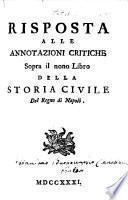 Risposta alle annotazioni critiche sopra il nono libro della Storia ciuile del regno di Napoli