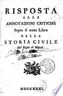 Risposta alle annotazioni critiche sopra il nono libro della Storia civile del Regno di Napoli