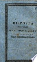 Risposta dell'abate Francesco Villardi al dialogo pubblicato contro di lui nella Biblioteca Italiana