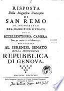 Risposta della magnifica Università di San Remo al memoriale del magnifico sindaco dell'eccellentissima camera ...