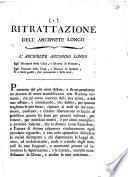 Ritrattazione dell'arciprete Longo. -_(Roma presso Francesco e Felice Lazzarini, 1814)