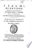 Sacra Scrittura: I Salmi di Davide. 1775