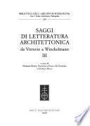 Saggi di letteratura architettonica da Vitruvio a Winckelmann