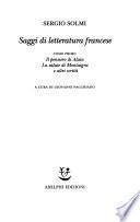 Saggi di letteratura francese: Il pensiero di Alain ; La salute di Montaigne e altri scritti