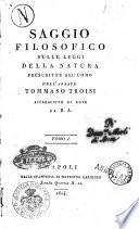 Saggio filosofico sulle leggi della natura prescritte all'uomo dell'abbate Tommaso Troisi