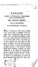 Saggio sopra i principali fenomeni della meteorologia del signor Monge con le riflessioni di Antonmaria Vassalli
