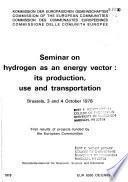 Seminar on Hydrogen as an Energy Vector