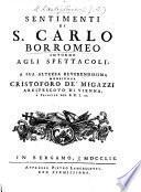 Sentimenti di S. Carlo Borromeo intorno agli spettacoli
