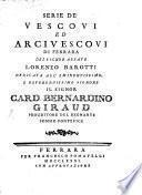 Serie de'Vescovi ... di Ferrara