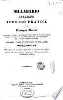 Sillabario italiano teorico pratico compilato per uso de' suoi figli e de' suoi allievi di Giuseppe Donini