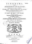 Sinonimi ed aggiunti italiani raccolti dal P. Carlo Costanzo Rabbi... ultima edizione accresciuta... dal P. Maestro Alessandro Maria Bandiera...
