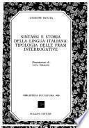 Sintassi e storia della lingua italiana