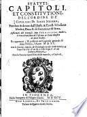 Statuti, Capitoli, Et Constitutioni, Dell'Ordine De' Cavalieri Di Santo Stefano