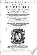 Statuti, capitoli, et constitutioni dell' Ordine de' Cavalieri di Santo Stefano