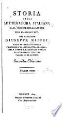 Storia della letteratura italiana dall origine della lingua fino al Secolo XIX.