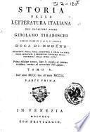 Storia della letteratura italiana del cavaliere abate Girolamo Tiraboschi ... Tomo 1. [-9.]