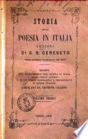 Storia della Poesia in Italia Volume Terzo