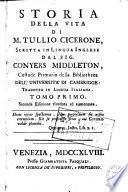 Storia della vita di M. Tullio Cicerone