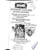 Storia di Giouanni Villani cittadino fiorentino ...