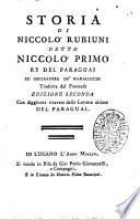 Storia di Niccolò Rubiuni detto Niccolò primo re del Paraguai ed imperatore de' mamalucchi tradotta dal francese