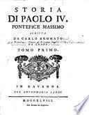 Storia di Paolo IV. Pontefice Massimo