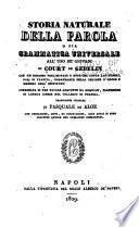 Storia naturale della parola; o sia, Grammatica universale all'uso de'giovani di Court de Gebelin