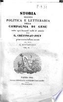 Storia religiosa politica e letteraria della Compagnia di Gesu