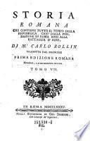 Storia romana incominciando dalla fondazione di Roma sino alla battaglia d'azio, cioe'sino al fine della repubblica