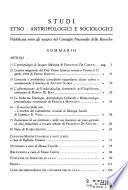 Studi etno-antropologici e sociologici