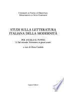 Studi sulla letteratura italiana della modernità: Dal secondo Novecento ai giorni nostri