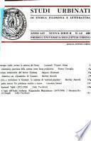 Studi Urbinati Di Storia, Filosofia E Letteratura