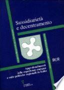 Sussidiarietà e decentramento
