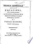 Teoria generale delle equazioni