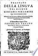 Trattato Della Lingva Del Signor Giacomo Pergamini Da Fossombrone