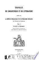 Travaux de linguistique et de littérature