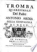 Tromba quaresimale del padre Antonio Ardia della compagnia di Gesù