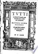 Tvtti Li libri d'Orlando inamorato, del Conte de Scandiano Mattheo Maria Boiardo Al vero senso ridutti Et vltimamente stampati