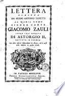 Lettera scritta da Guido Antonio Zanetti al nobil uomo signor conte Giacomo Zauli sopra una moneta di Astorgio 2. battuta in Faenza con altre notizie risguardanti la zecca, ed il corso delle monete in questa città