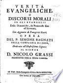Verita evangeliche, o Discorsi morali su gli evangelii delle Domeniche, da Pentecoste fino all'Avvento