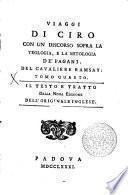 VIAGGI DI CIRO CON UN DISCORSO SOPRA LA TEOLOGIA, E LA MITOLOGIA DE' PAGANI