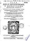 Vita dell' invitissimo, e sacratissimo imperator Carlo V...