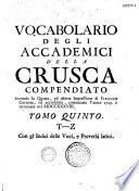 Vocabolario degli Academici della Crusca, compendiato seconda la quarta impressione di Firenze