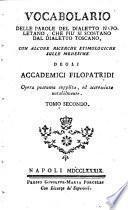 Vocabolario Delle Parole Del Dialetto Napoletano, Che Più Si Scostano Dal Dialetto Toscano