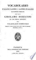 Vocabolario Italiano-Latino E Latino-Italiano ; Nouvamente Compilato