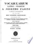 Vocabolario italiano-latino (e latinoitaliano).
